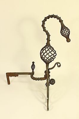 Antique Tiffany Roycroft Style Twisted Spiral Wrought Iron Fireplace Andirons 8