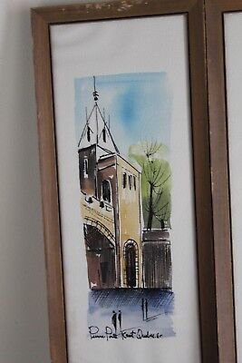 vintage watercolor of Quebec coat of arms signed