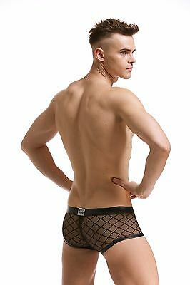 Slip Boxer Transparent Noir Filet Sexy Homme Viril Thong Man Underwear Mboer401 8