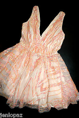 NWT Bebe coral pink sequin double v neck flare sequins mesh top dress S Small 4 5