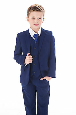Boys Blue Suits Royal Blue Suit Navy Formal Wedding PageBoy Party Prom 5pc Suit 6