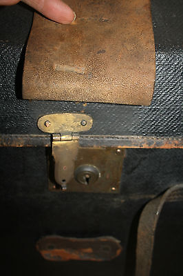dome-top leather canvas coach trunk very early 19th century  FILM PROP ideal 4