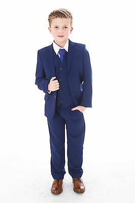 Boys Blue Suits Royal Blue Suit Navy Formal Wedding PageBoy Party Prom 5pc Suit 2