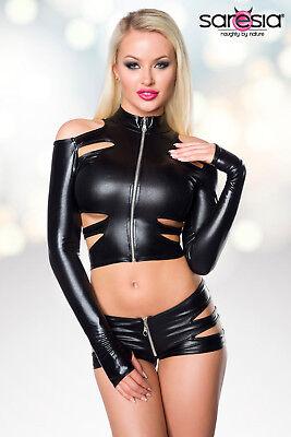 Sexy Wetlook Set Jacke + Hotpants Lederlook Gogo Erotik Schwarz XS S M L XL 5