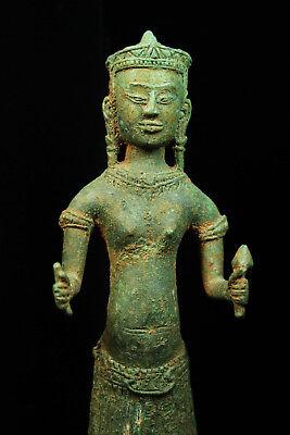 Rare Ancient Khmer Bronze Statue of Prajnaparamita 12th c Bayon Style Angkor Per 3