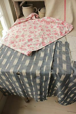 Vintage French fabrics antique material PROJECT BUNDLE floral IKAT 18th century