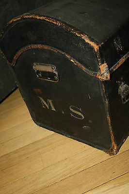 dome-top leather canvas coach trunk very early 19th century  FILM PROP ideal 9