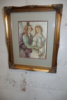 Vintage Gold Gilt Ornate Wood Picture Frame & Print ( Photo Painting ) 2