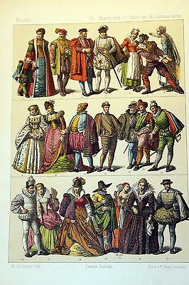 Antique MIDDLE AGES COSTUME Print by F. Hottenroth-1884 FRENCH 16th Century #2