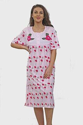 Ladies Night Gown Nightshirt Floral Short Sleeve Plus Size PJ Nightie Nightwear. 4