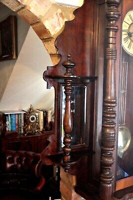 Antique Extra Rare German 8-Day Striking Wall Clock with Side Mirrors, 19th C 4