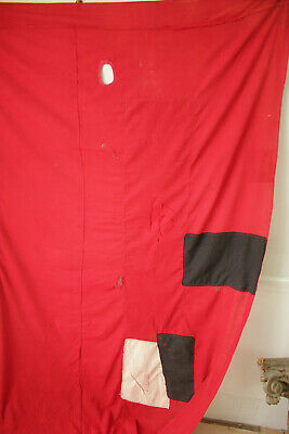 Antique Fabric Red & Black Polka dot French patched textile day bed canopy 3