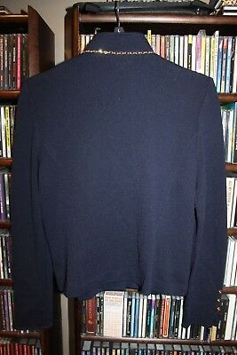 St. John Collection Marie Gray Navy Blue Santana Knit Jacket Blazer 6 gold(b149)