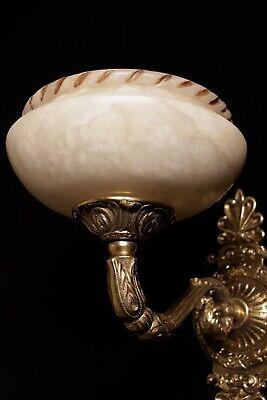 pair of  spanish Alabaster wall lights sconces solid  bronze candelabra 9