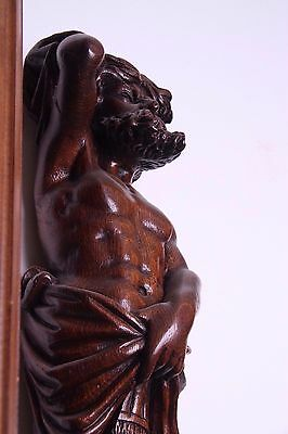 19C Italian Carved Walnut Classic Caryatid Wall Pilasters Architectural Element 8