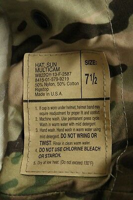 Us Army Gi Multicam Odu Ripstop Camo Combat Uniform Floppy Hat Boonie Cap 7 1/2