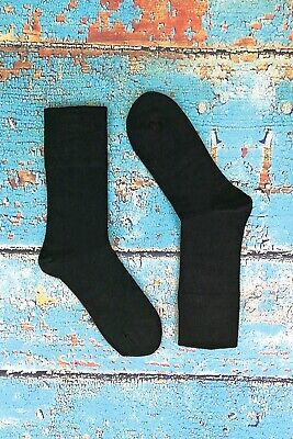 IOMI - Mens 6 Pack Wide Loose Top Non Binding Elastic Cotton Crew Diabetic Socks 4