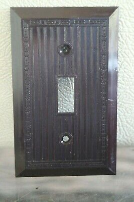 NOS Vintage Bakelite Single Wall Switch  NOS Switchplate Art Deco brown 2