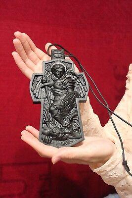 Carved Saint Michael the Archangel Cross. Bog Oak. Antique wood. Orthodox. Large 2