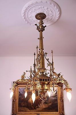 Vintage French Gothic Fantasy Winged Dragon/Griffin Bronze Castle Chandelier 9
