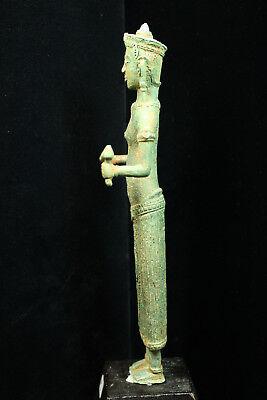 Rare Ancient Khmer Bronze Statue of Prajnaparamita 12th c Bayon Style Angkor Per 5