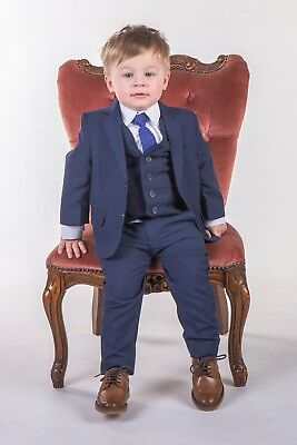 Boys Blue Suits Royal Blue Suit Navy Formal Wedding PageBoy Party Prom 5pc Suit 10