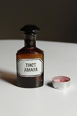 Apothekerflasche, Form selten, TINCT. AMARA rund mit 4 Kanten,alt,emailliert