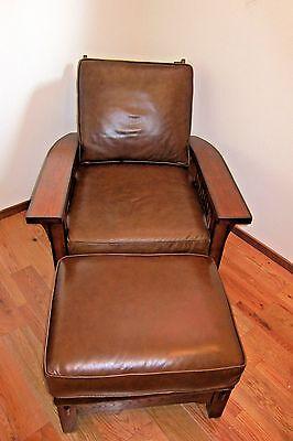 9 Of 12 Flexsteel Arts Crafts Mission Style Dark Oak Leather Sofa Morris Chair