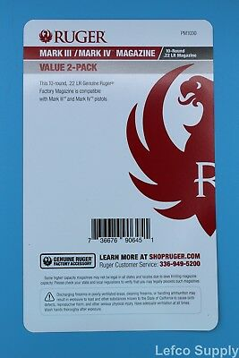 Ruger Mark III 3 and IV 4 Magazine 10-Round 22-LR Value 2-Pack 90645 OEM Mag New 8