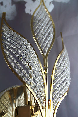 Rare Vintage Italian Wall sconce early 1980's Autumn leaves glass pearls 7