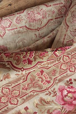 Fabric Antique Floral French printed cotton circa 1860 twill weave muted tones 12