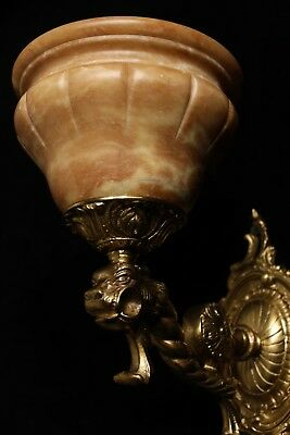 Pair of solid bronze and real alabaster wall lights sconces with lion head 12