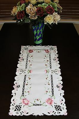 Organza Embroidery Cutwork Rose Placemat Table Runner White Ivory Wedding Bridal