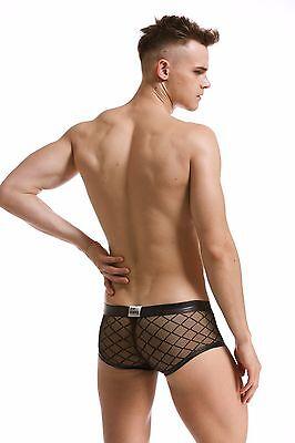 Slip Boxer Transparent Noir Filet Sexy Homme Viril Thong Man Underwear Mboer401