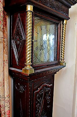Antique Mosley, Peniston Yorkshire, 18th Century Carved Oak Grandfather Clock 3