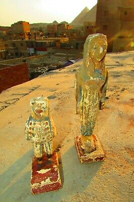 Antique Pharaonic Statues Made Of Wood, Horse And Nefertiti, Rare Made In Egypt 3