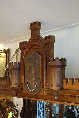 19C English Gothic Carved Oak Castle/Battlement Architectural Fantasy Pediment 5