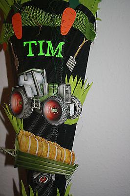 Neu /& Handarbeit !! Zuckertüte Bauernhof Schultüte Einschulung Trecker