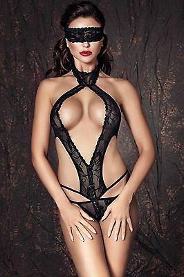 Sexy Micro Body Pizzo Nero Stringato Dietro Mascherina Nude Back Strappy Teddy S 2 • EUR 22,90