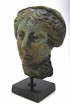 Ancient Greek Statue Goddess Of Health Hygeia Sculpture On A Marble Stand