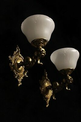 Pair of solid bronze and real alabaster wall lights sconces with lion head 3