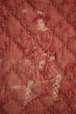 Antique French toile de Normandy c 1820 red quilted textile linen backed 12