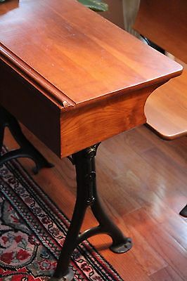 Antique School Desk with Original Inkwell and Folding Seat 2