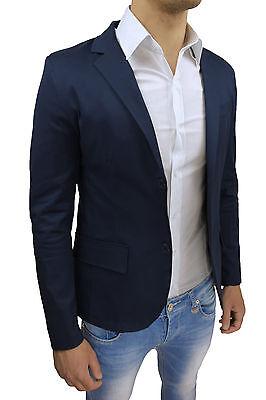 ... Giacca Blazer Uomo Sartoriale Slim Fit Blu Casual Aderente 100% Made In  Italy 3 8f855dada44