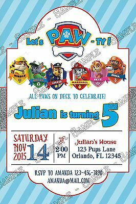 PAW PATROL - Tall - Nick Jr - Birthday Party Invitations - 15 ...