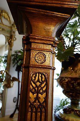 19C English Gothic Carved Oak Gilded Polychrome Pedestal 11