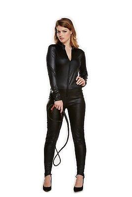 U25064 Catsuit Tuta Cat Woman Effetto PVC WetLook Opaca Nera Con Cerniera Zip