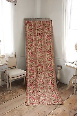 Fabric Antique Floral French printed cotton circa 1860 twill weave muted tones 3