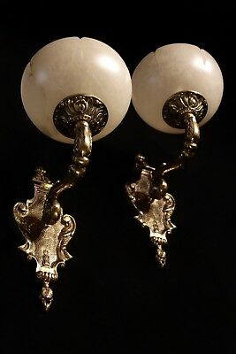 pair of  spanish Alabaster wall lights sconces solid  bronze candelabra 9