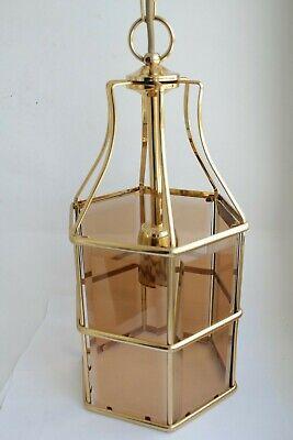 Swedish Rare ceiling vintage brass  faceted smoke glass VINTAGE  LAMP Mark Slöjd 4